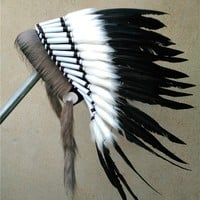 21 inch high black Indian feather Headdress