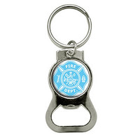 Firefighter Firemen Maltese Cross - Blue Bottle Opener Keychain