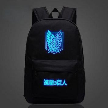 Cool Attack on Titan New  Luminous Backpack Student School Bags Mochila For Teenager no  Anime Shoulder Travel Work Bag AT_90_11