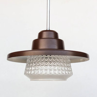Vintage Ceiling Light - Space Age  Pendant Lamp - 60's 70's Retro Home Decor / Brown