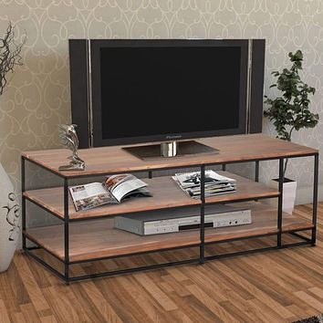 3 Tier Metal Framed Entertainment Unit with Wooden Shelves, Brown and Black By The Urban Port