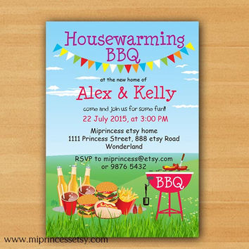 Housewarming Invitation New house Housewarming BBQ gathering party Invitation, Chalkboard Backyard, Barbecue  - card 718