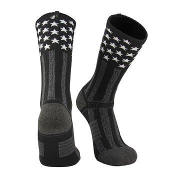 Strideline® 2.0 The Apache USA Flag Stars Stripes Black White Crew Socks NEW