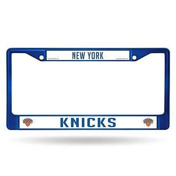 New York Knicks NBA Licensed Blue Painted Chrome Metal License Plate Frame