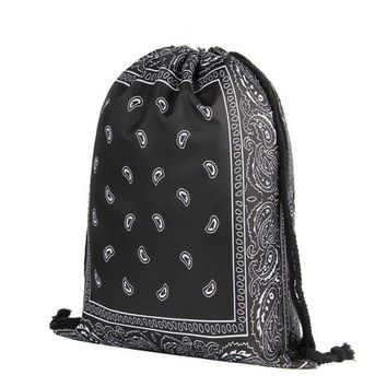 Paisley Bandana Pattern Drawstring Bags Cinch String Backpack Funny Funky Cute Novelty