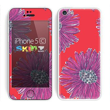 The Artistic Purple & Coral Floral Skin for the Apple iPhone 5c