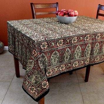 Hand Block Print Cotton Kalamkari Floral Tablecloth Square 78 x 78 inches Red Green