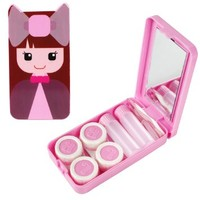 PInk Compact Style Girl with Bow Contact Lens Case Travel Kit with 2 Lens Cases & 2 Solution Bottles