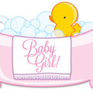 Baby Girl Bubbles Blank Note Card