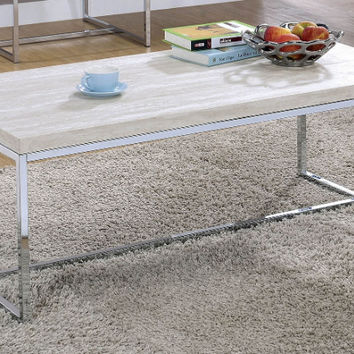CM4151C Olle washed white wood modern chrome metal coffee table