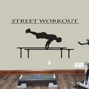 Street Workout Wall Decal, Athlete Performance Wall Sticker, Workout Room Wall Decor, Garage Gym Wall Decor, Gymnastic Workout Decal  se066
