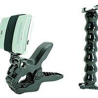 Jaws Flex Clamp + Adjustable Goose Neck + Universal Mount Adapter for Smartphone By Action Mount®, W/base Clip & Screw, Operable with Any Smartphone. Strongest Hold on the Market. Action Mount for Gopro Iphone 5s 5 4s Samsuang Galaxy S5 S4 S3. Use with a P