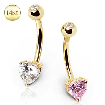 14Kt Gold Navel Ring with Prong Set Heart CZ