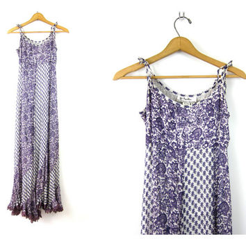 72ad94d2b8d Long Floral Sundress Purple Flower Print Indian Festival Dress 9