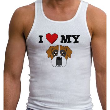 I Heart My - Cute Boxer Dog Mens Ribbed Tank Top by TooLoud