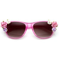 Spring Summer Flower Floral Horned Rim Sunglasses 8853
