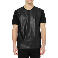 Neil Barrett - Faux Leather And Jersey T-Shirt | MR PORTER