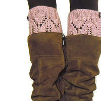 Lace boot cuffs light pink legwarmers hand knitted boot toppers boho gift under 25 Choose your color Made to Order