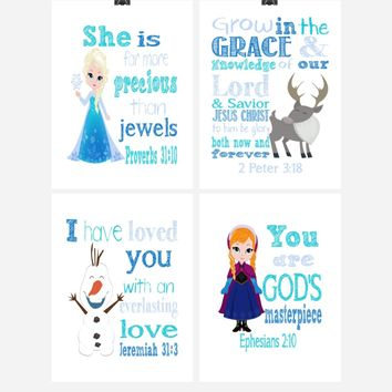 Frozen Christian Nursery Decor Set of 4 Prints, Princess Elsa, Anna, Sven and Olaf