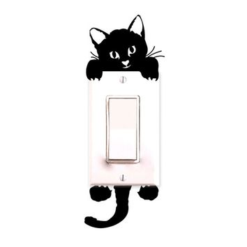 2016 Kitty Cat light switch sticker Cartoon Decor Decals Children Baby Nursery Room doorknot light Stickers Paper 2016 hot sale