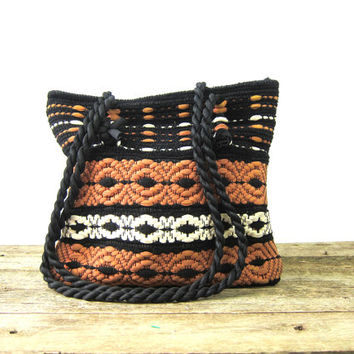 Brown Black & White Knit Fabric Bag Double rope Straps Woven Purse 1950s Hipster Nylon Indie Girl Retro Cloth Shoulder Bag