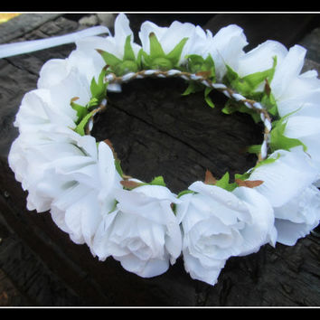 White Rose Flower Crown, Headband, Crown, Halo, Festival, Wedding, Coachella, girl, bridesmaid, renaissance, bridal, bride, hair, big, large