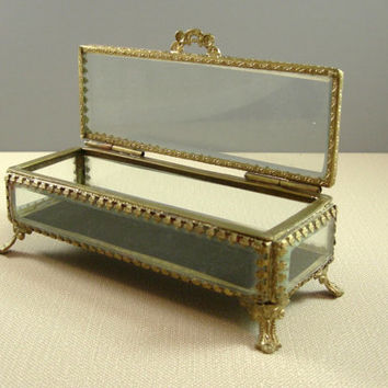Victorian Style Beveled Glass Jewelry Casket // Wedding Ring Bearer Box // from UBlinkItsGone