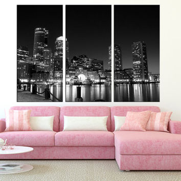 LARGE Canvas Print wall art, boston Skyline wall Art, Extra Large wall art boston canvas Print, city skyline art modern wall decor  t216