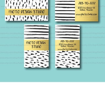 Custom Business Cards//Paint brush strips and dots//Black and Gold Foil//