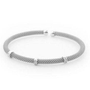 MDIG1 .925 Sterling Silver Diamond Bangle Mesh Bracelet