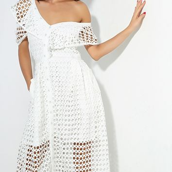 Open Your Arms White Cut Out Circle Lace Short Sleeve Off The Shoulder V Neck Midi Dress