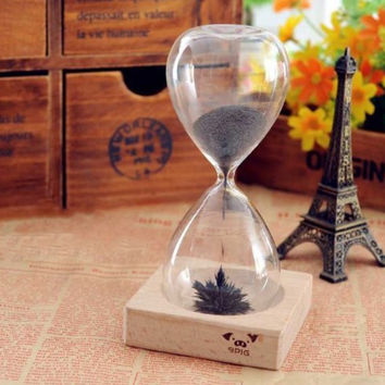 Magnetic Timer Sand Hourglass Desktop Decoration Iron Fillings Present Clock