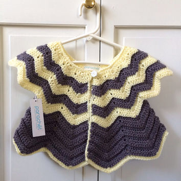 Easter Dress Cover 12 Month Cardigan - Crochet Yellow and Gray Chevron Sweater for Toddler