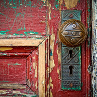Red Door Maroon Burgundy Doorknob Urban Decay Weathered Rustic Door Photography Vintage Antique Door Red  Fine Art Print