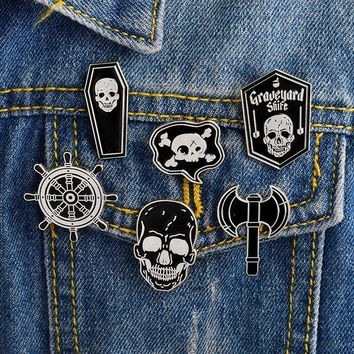 Trendy 6pcs/set Pirate Pins set Skeleton Skull Ax Rudder Coffin Brooches Denim jacket Shirt Collar Lapel Pin Buckle Badge Punk Jewery AT_94_13