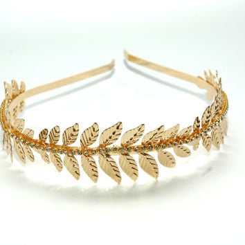 Grecian Gold Leaf Headband, Laurel Leaf Headband, Rhinestone Gold Headband, Goddess  Leaf Headband, Gold Headpiece