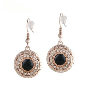"Snap Charm Rose Gold Plated Earrings Mini Petite Black Snaps 12mm (1/2"" Diameter) Fit Ginger Snaps"