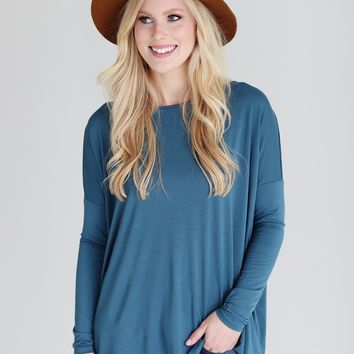 Midnight Teal PIKO Long Sleeve Top