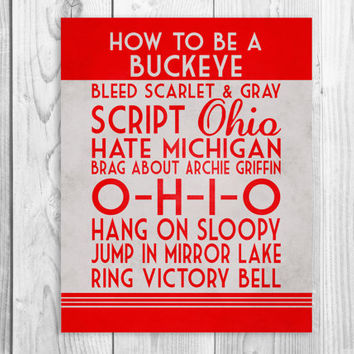 Ohio State Art Print, Buckeye Quote Poster Sign, Buckeye Football Decor, OSU Football, OSU decor