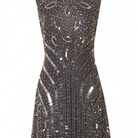 Anika Grey Embellished Dress - Clothing