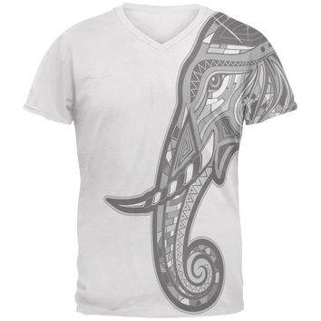 Tribal Mosaic Elephant Mens Soft V-Neck T Shirt