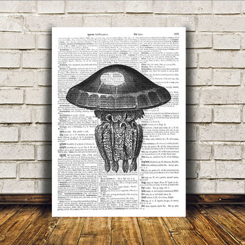 Jellyfish poster Beach house decor Nautical art Marine print RTA63
