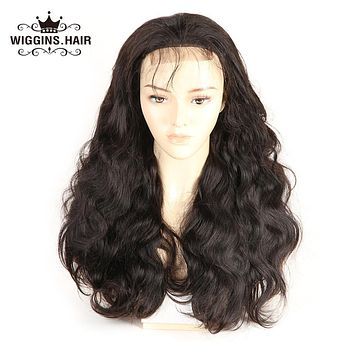 Wiggins 4*4 Lace Front Human Hair Wigs For Black Women Pre Plucked Peruvian Body Wave Non Remy Hair Natural Black 12-30inch