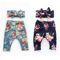 pudcoco Baby boys Girls Floral pants bebe kids boy girl flower casual Clothes Bottoms Leggings Pants Trousers +Headband