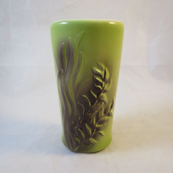 Mid Century Modern Vase Pea Green & Brown Airbrushed Seaweed Pottery Made by Royal Copley Lime Green Brown Modernist Pottery Vase 1950's