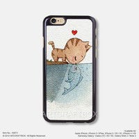 Cat kiss fish iPhone 6 6Plus case iPhone 5s case iPhone 5C case iPhone 4 4S case Samsung galaxy Note 2 Note 3 Note 4 S3 S4 S5 case 073