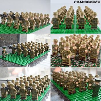 26PCS Military Team City Police Armed Assault Army soldiers legoingly Weapons Guns Figure WW2 World War Blocks Gift Baby Toys