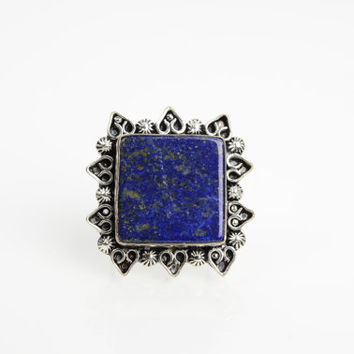 Lapis Lazuli Ring Sz 8 Native American Gypsy boho ring Navajo Ring Zuni Southwest Indian Silver Ring Jewelry Old Pawn Hopi Ethnic Ring Blue