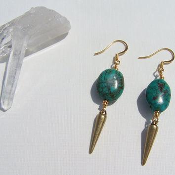 Small Turquoise & Brass Spike Earrings on Etsy