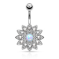 Flower Sparkly Crystal  Opal Belly Ring Navel Ring Body Jewelry Piercing
